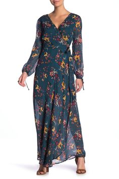 Band of Gypsies Jacey Wrap Printed Maxi Dress Fall Capsule Wardrobe, Boho Look, Top Designer Brands, Nordstrom Dresses, Gypsy, Party Dress, Wrap Dress, Band, Nordstrom Rack