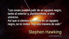 Consejo de Stephen Hawking para las personas que sufren de depresión haciendo alusión a los agujeros negros.#Ciencia #Espacio #Salud #Metáfora#gif