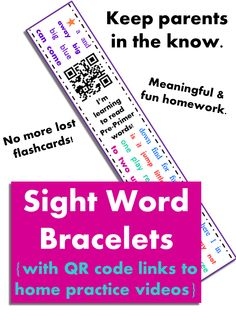 Pre-Primer to 3rd grade Dolch Sight Word Bracelets (242 words) with QR codes linking to home practice videos! Great for kindergarten homework & sight word remediation. Parents scan the QR codes to view Dolch sight word videos. Several different bracelets for each Dolch list, so students stay engaged with the high frequency word videos! All the sight words are listed on each paper band, so no more lost flashcards. Easily differentiate sight word practice by giving students different levels.