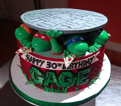 Teenage Mutant Ninja Turtle birthday cake! This cake was a ton of fun to create and we of course had to add the slices of pizza in!