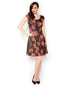FLIRTY CAP SLEEVE RED ROSE DRESS
