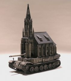 This series of sculptures, aptly known as Churchtanks, by artist Kris Kuksi presents a controversial re-imagining of cathedrals as heavily armored tanks. Like much of his body of work, Kuksi's pieces in this collection critique organized religion and comment on morality by combining the faith-based architecture with military force. http://www.mymodernmet.com/profiles/blogs/kris-kuksi-church-tank http://kuksi.com