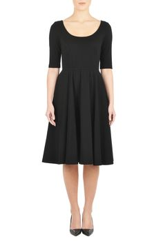 , below knee length dresses, black dresses, cotton/spandex Dresses, day dresses, elbow length sleeve dresses, jersey knit dresses, machine wash dresses, midweight dresses, pleated dresses, pocket dresses, scoop neck  dresses, Seamed waist dresses, stretch Dresses, work-to-weekend