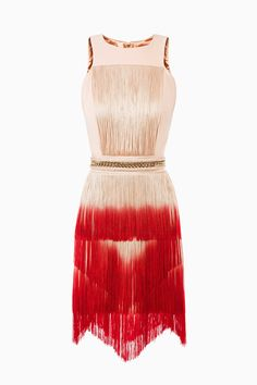 ELISABETTA FRANCHI -- FW15-16 Mini Dress with Fringes and Chain / Color: Dusty Pink & Raspberry