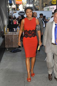 Robin Roberts showing her PICC in style! Cover by CastCoverFashions. Short Skirts, Short Dresses, Dresses For Work, Robin Roberts, Breast Cancer Survivor, Chic Dress, Celebrity Feet, Beautiful Black Women, Peplum Dress
