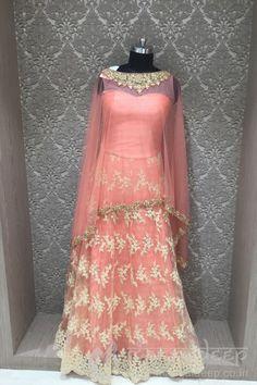Stunning Light Pink Net Jardosi And Diamond Work Pancho Style Readymade Gown