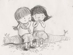 Reminds me of my sister and i. Love my sister. Illustration Friday