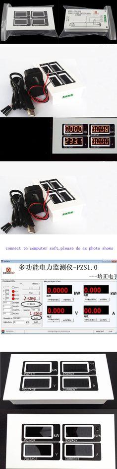 AC 80v-260V Digital 0~100A Watt Power Meter Volt Amp Ammeter Voltmeter & Split-Core CT & USB Cable Connect Software