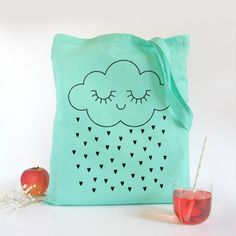 Image of NEW ! Tote bag Tenderness - Mint