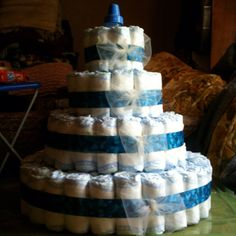Diaper cake I made for a friend's baby shower.