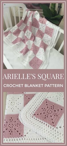 Crochet Blanket Pattern -  Arielle's Square - Baby Blanket - Easy Granny Square - Crochet Throw  Afghan - Pattern by Deborah O'Leary Patterns - PDF Instant Download #crochet #afghan #blanket #affiliate #crochetpattern