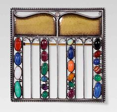 Josef Hoffmann-designed brooches that sold at Kinsky in Vienna. This example in silver, gold and semi-precious stones was designed to resemble an exhibition hall constructed in Vienna in 1908 to house works by the artistic avant-garde of the day.