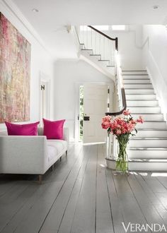 top modern design home interior floor stairs 17 Painted Wood Floors, Painting Wood Paneling, White Wood Floors, Grey Flooring, Grey Walls, Wood Walls, Painting Walls, Flooring Ideas, Painting Art