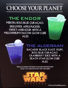 Specialty Star Wars cocktails have returned to Disney's Hollywood Studios for Star Wars Weekends. Choose your Planet! Party Drinks, Cocktail Drinks, Fun Drinks, Yummy Drinks, Cocktail Recipes, Disney Alcoholic Drinks, Star Wars Essen, Disney Cocktails, Apple Pucker