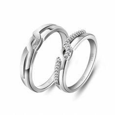 Fashion New Cubic Zirconia 925 Sterling Silver White Gold Plated Rings for Lovers
