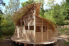 Coed Gwern Bird Hide, Machynlleth by CAT Professional Diploma Students  Avian architecture ... all the timber for this student-built bird hide was sawn and processed within 500 metres of its location