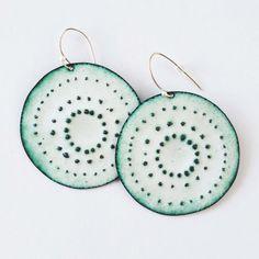 Enamel Earrings. Large round earrings. The van chromafusion op Etsy