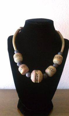 "Vintage Tribal Boho ""Handcut"" Brass Bead and Brass Tube Necklace. $179.00, via Etsy."