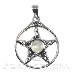 Sterling Silver Triquetra Pentacle Pendant with Rainbow Moonstone - Wiccan Store