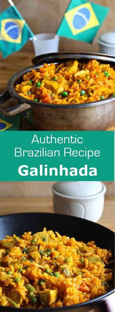Galinhada is an emblematic Brazilian dish prepared with rice and chicken whose yellow color comes from saffron or turmeric. Beef Recipes, Vegetarian Recipes, Chicken Recipes, Cooking Recipes, Fast Recipes, Brazilian Dishes, Brazilian Recipes, Brazilian Chicken, Gastronomia
