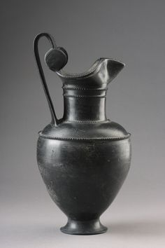 ANCIENT GREEK SOUTH ITALY, ETRUSCAN BLACK POTTERY BUCCHERO WINE VESSELS  600 BC TO 500 BC, GREEK SOUTH ITALY