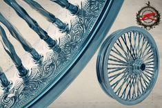 Engraved Wheel with Twista Spoke Custom Harleys, Custom Motorcycles, Custom Bikes, Harley Davidson Iron 883, Motorcycle Art, Bike Art, Moto Fest, Hell On Wheels, Harley Softail