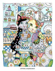 "Creative Haven Creative Cats by Marjorie Sarnat, ""Chari-tea"" ~color~"