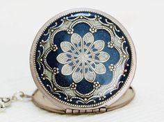 Locket, Silver Locket,Blue Locket,filigree locket necklace,photo locket , vintage locket,Wedding Necklace,bridesmaid necklace. $79.99, via Etsy.