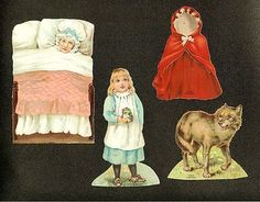 Lion Coffee Paper Doll Advertising Trade Cards Little Red Riding Hood ca 1890s (04/07/2013)