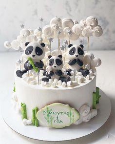 Panda Birthday Cake, Brithday Cake, 21st Birthday Cakes, Panda Bear Cake, Panda Cakes, Fondant Cakes Kids, Animal Cakes For Kids, Girl Shower Cake, Fete Emma