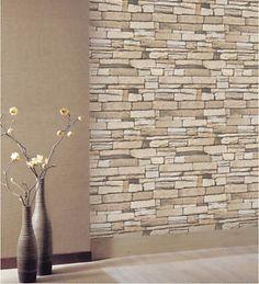 Natural Stacked Stone Brick Vinyl Self Adhesive Peel Stick Wallpaper NO H608 | eBay