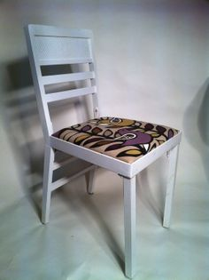 White Vintage Folding Chair Reupholstered with by rumpledsuit, $55.00