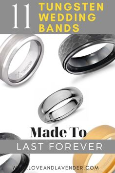 Much like the man who chooses a tungsten wedding band, this metal is useful, functional, and strong. Like 10x stronger than 18K gold. It's used to make stuff like missiles and heavy machinery. It's no-nonsense. It can endure anything. And, like your marriage, it's going to last forever. If a tungsten wedding band sounds right up your alley (or wolf lair), check out these 11 designs that caught our manly eye.  Repin this idea! #wedding #weddingbands #tungsten #tungstenrings