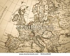 Old vector map of Europe   Contour detailed Europe political map     Antique old map Europe