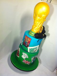 Soccer cake ... With trophy