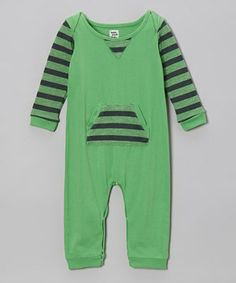 Loving this Lake Park Kids Rugby Green Stripe Romper - Infant on #zulily! #zulilyfinds