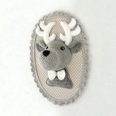 Trophée cerf gris fait main