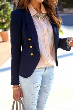 #winter #fashion /  Navy Blazer / Pink Shirt / Ripped Skinny Jeans