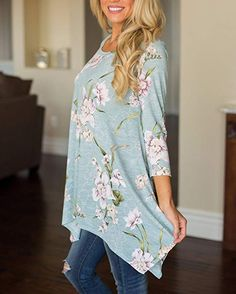 26d36cdc9d3 MIROL Floral Print Sleeve Irregular Hem Asymmetrical ladies summer tunic  tops / Chic ladies smart tunic tops / Chic Fashion for Women