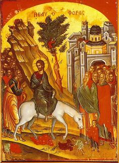 Orthodox icon of the Εντρυ of our Lord Jesus Christ to Jerusalem, by Theophanis the Cretan Stavronikita Monastery, Mount Athos Religious Icons, Religious Art, Jesus Enters Jerusalem, Feasts Of The Lord, Kings Of Israel, Biblical Art, Palm Sunday, Holy Week, Art Icon
