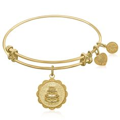 Expandable Bangle in Yellow Tone Brass with Wedding Day Symbol