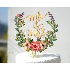 Mr & Mrs Wedding Cake Topper Printed with Floral Wreath 2017 - $19.99
