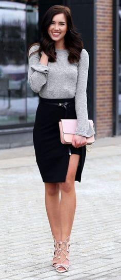 Sexy slit black skirt (on sale $20) with lace up blush pink #sandals and a grey bell-sleeve top ($15) are all perfect to transition from winter to spring and #summer!