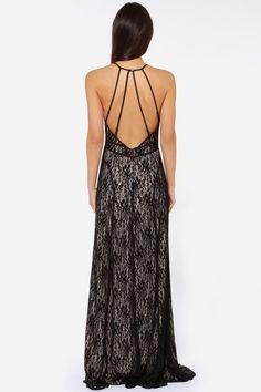 Black Spaghetti Strap Backless Lace Maxi Dress - abaday.com