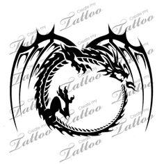 Marketplace Tattoo Tribal Ouroboros Dragon #6221   CreateMyTattoo.com