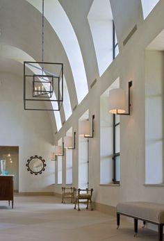 Country White Foyer with Dormer-Style Windows - Luxe Interiors + Design Foyer Design, Window Design, Foyer Decorating, Interior Decorating, Decorating Ideas, Bertoia, Architecture Design, Design Architect, English Country Style