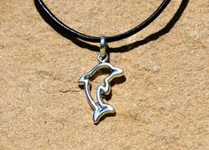 Dolphin Shaped Sterling Silver Pendant with by UrpiPeruvianMarket