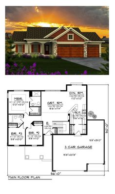 Ranch House Plan 96120 | Total Living Area: 1351 sq. ft., 3 bedrooms, 1 full bathroom and one 3/4 bath. Complete with three bedrooms and 2 baths, this home combines an open design concept with design features that are sure to please. #ranchhome
