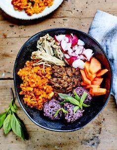 Buddha bowl shimejis, riz et lentilles, sauce tahini pour 4 personnes - Recettes Elle à Table