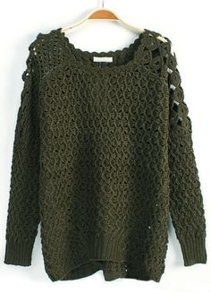 Green Plain Hollow-out Round Neck Blend Sweater
